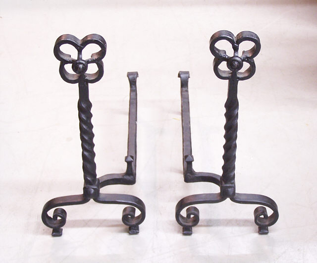Antique Wrought Iron Andirons.