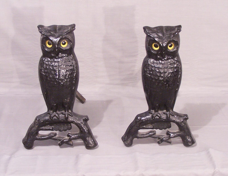 Antique Owl Andirons.